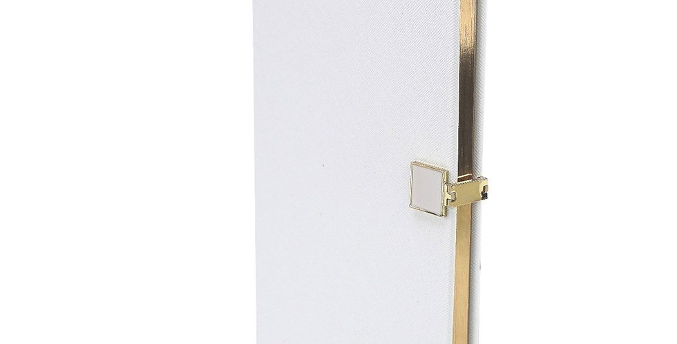White Notebook A5 size with gold edging
