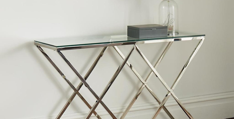 console table with glass top and silver criss-cross frame