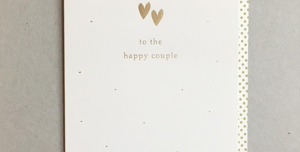 wedding card, cream with gold hearts and writing to the happy couple