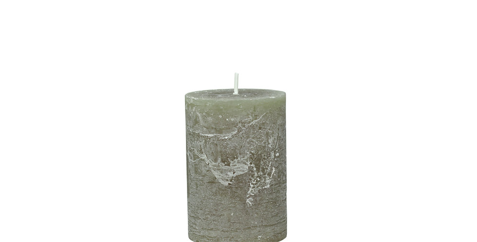 40 hour olive coloured rustic style candle