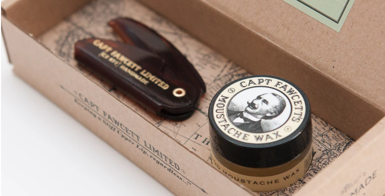 Gift set of moustache wax and a beautifully crafted fine toothed Folding Pocket Moustache Comb