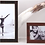 Enamelled wood grain photo frame with gold plated detail