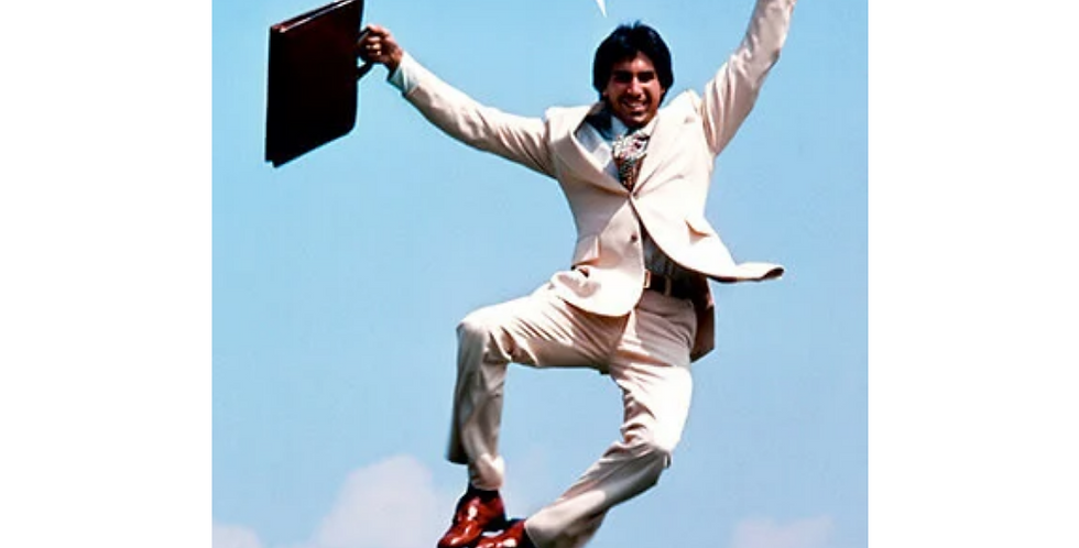 70s style businessman jumping in air with wording it's fuck this shit o'clock