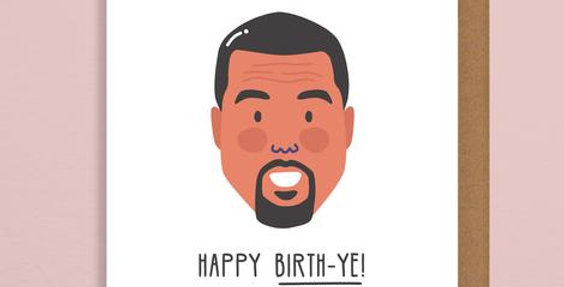 Happy Birthday card featuring Kanye West