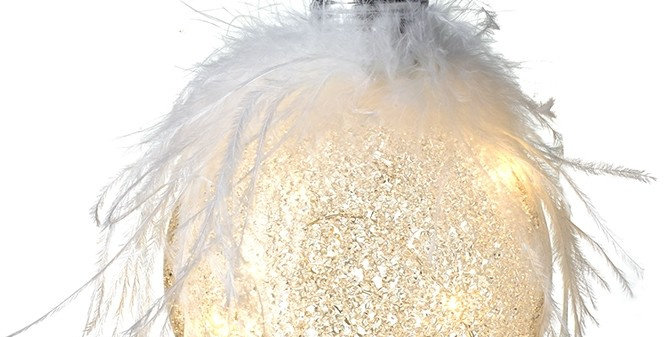 Iridescent Glass Bauble With Feathers
