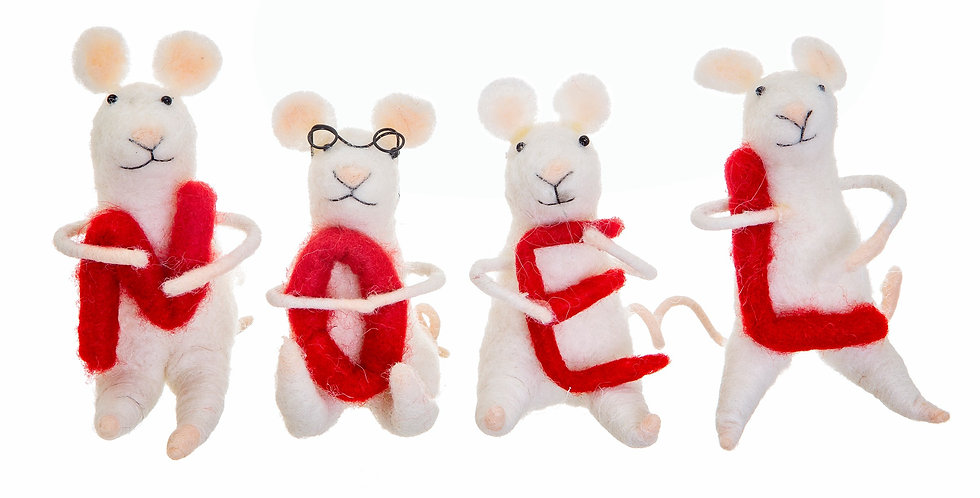 Noel Felt Mice Standing Decoration