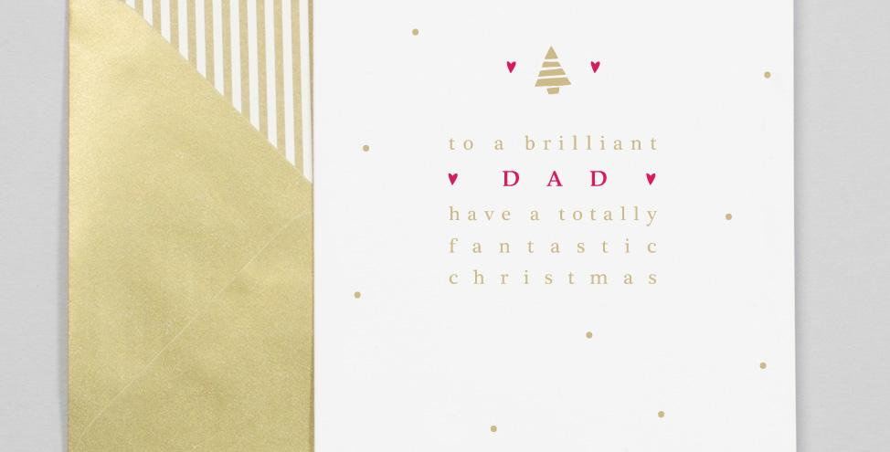 White background with gold dots red and gold tree and text saying to a brilliant dad have a totally fantastic christmas