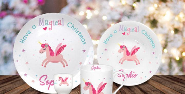 unicorn personalised dining set