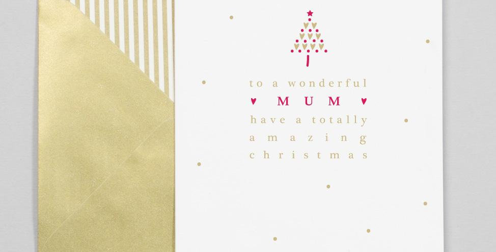 White background with gold dots red and gold tree and text saying to a wonderful mum have a totally amazing christmas