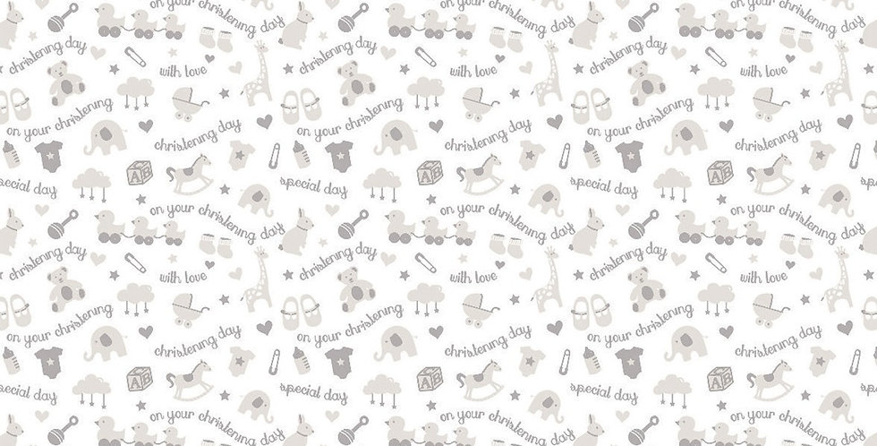White and silver christening wrapping paper with baby items and animals