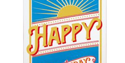 Bithday card with a retro style featuring a sunshine and wording Happy Birthday