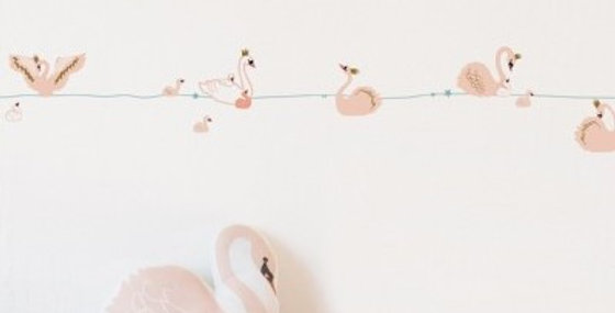 beautiful pale pink swan border for kids rooms