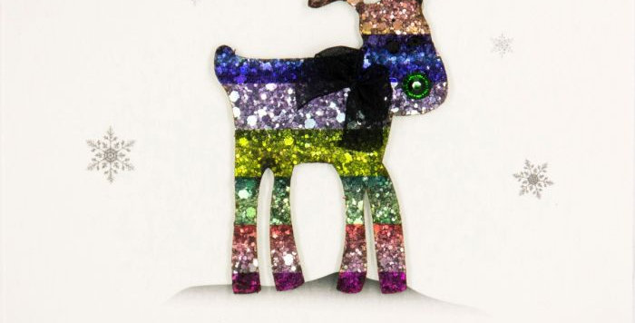 Merry Christmas and a Happy New Year Rainbow Reindeer