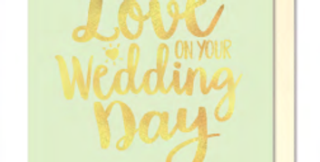 wedding day card, mint green with gold writing with love on your wedding day