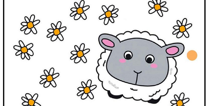 gift tag featuring a cute cartoon lamb and daisies