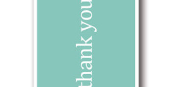 pack of 10 thank you cards, mint green and white words thank you