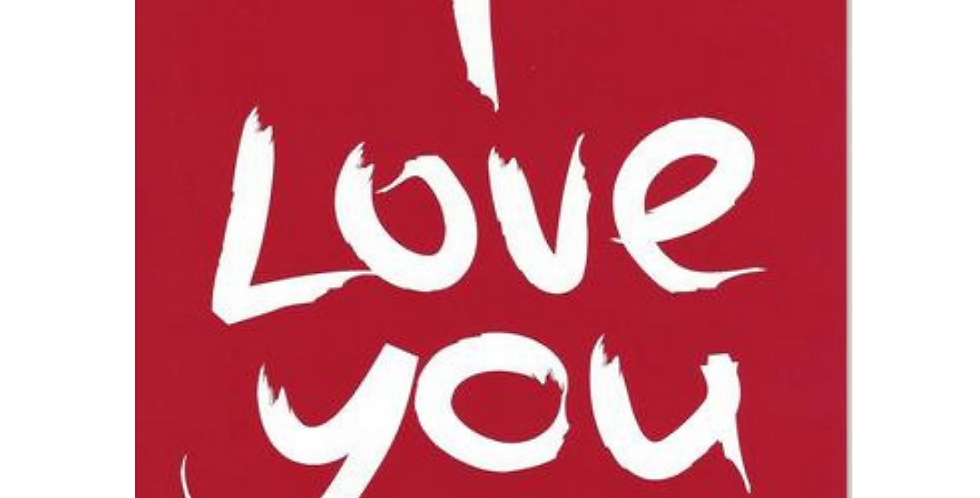 Anniversary Card with red background and big white writing saying I love you