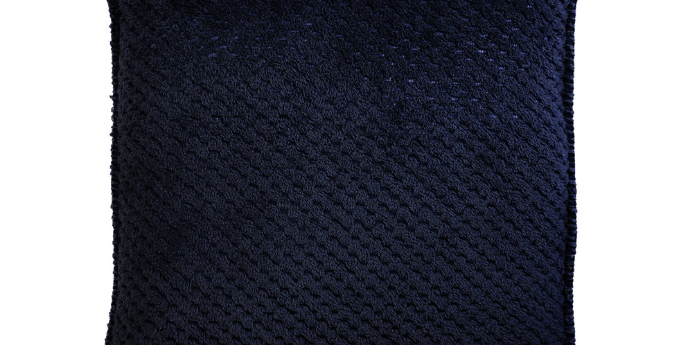 Gorgeous indigo coloured reversible cushion has a super soft fabric front and a cosy velour back