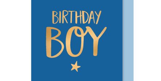 Birthday Card with blue background and gold writing and star saying Biirthday Boy