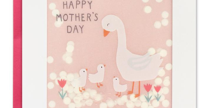 Mother's Day shakies card with mother goose and gosling on pink background and white shakie confetti