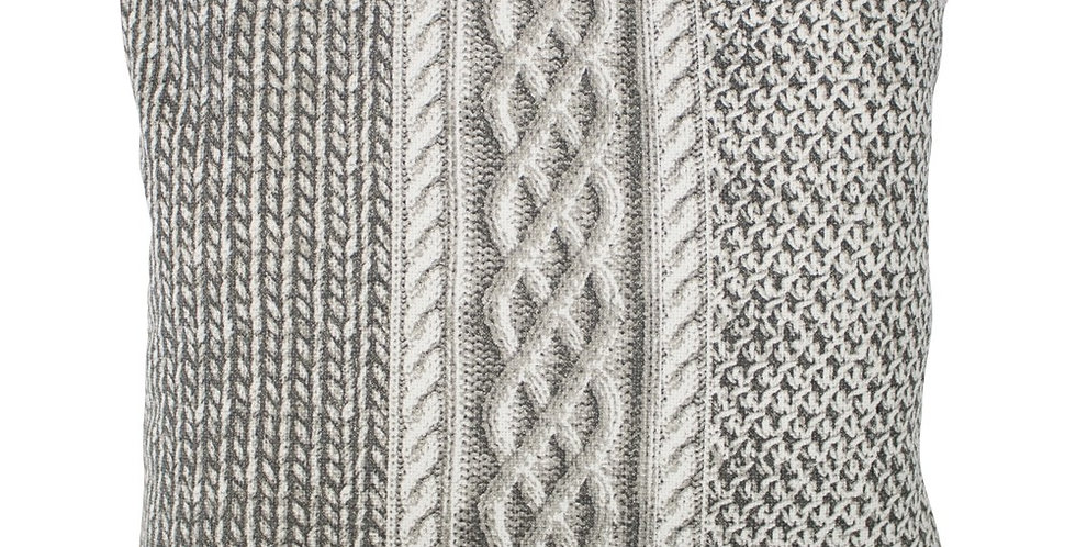 Grey and white big knit square cushion featuring stripes of different knitting styles