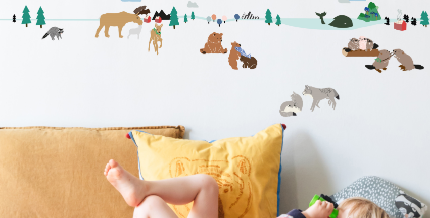 north forest wall border features pine trees and animals found in northern forests