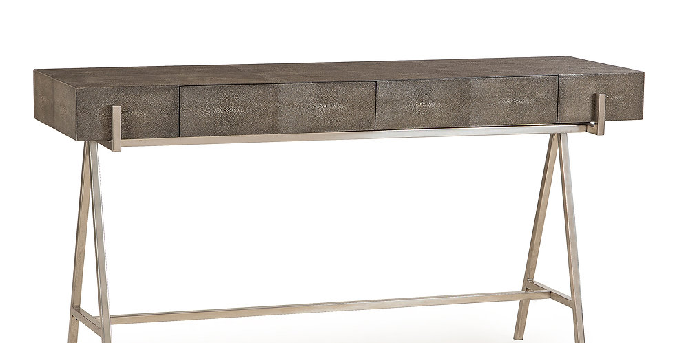 Astylish charcoal coloured faux shagreen console table with a smart A-frame, stainless steel base and two subtle front drawe