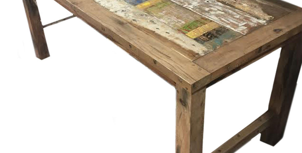 A beautiful dining table made from recycled teakwood