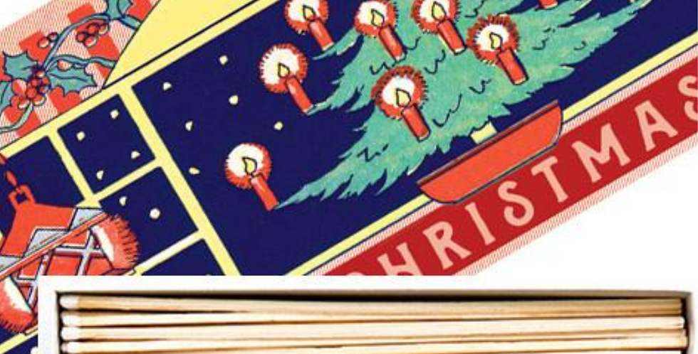 Festive box of long matches with Christmas picture of candlelit tree to box