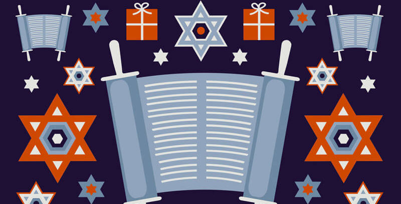 Bar matizvah card with dark blue background and gift, torah and star of david pattern