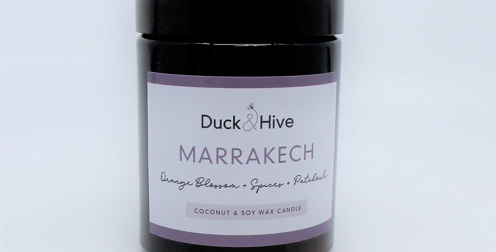 Marrakech soy wax candle scented with orange blossom, Moroccan spices and patchouli