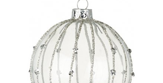 Clear Glass Bauble with Glitter Stripes