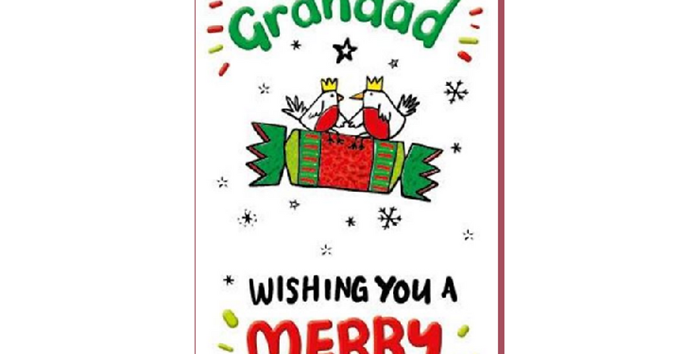 DL shaped christmas card featuring cracker with words to nan and grandad wishing you a merry christmas