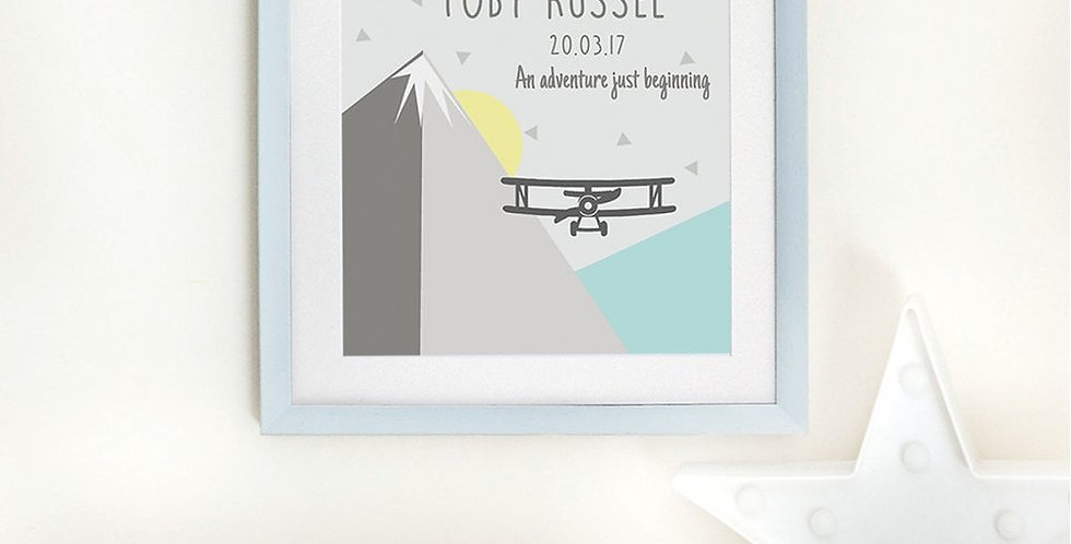 personalised adventure nursery print with airplane