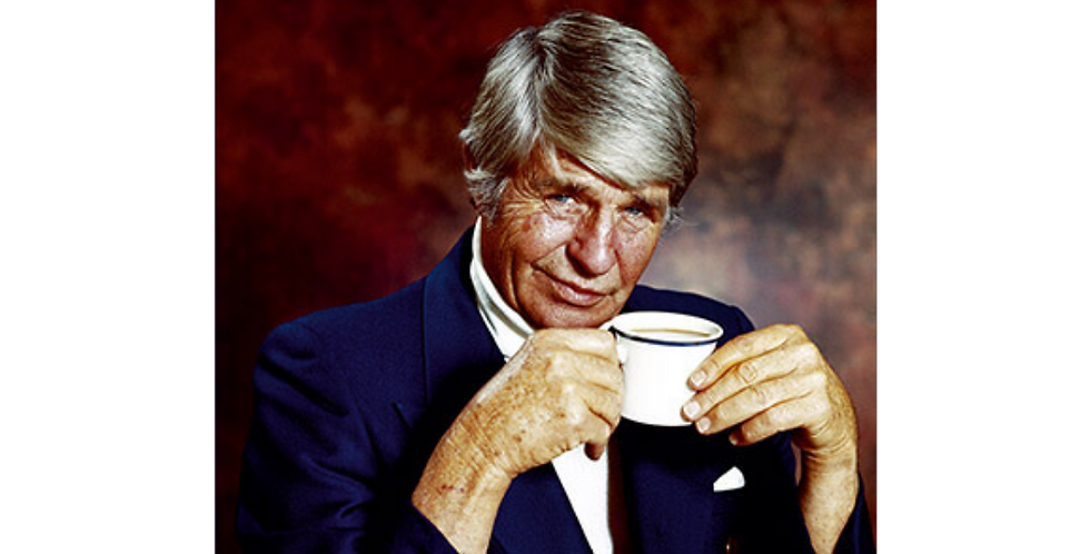 70s style suave olde man holding cup with words How About A Nice Cup Of Shut The Fuck Up