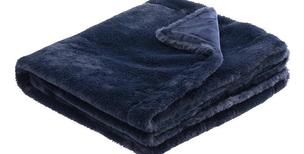 Indigo faux rabbit fur blanket. A velvet soft blanket.