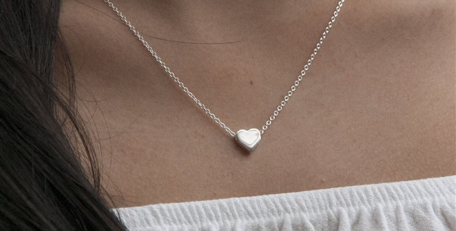 Tiny Sterling Heart Necklace