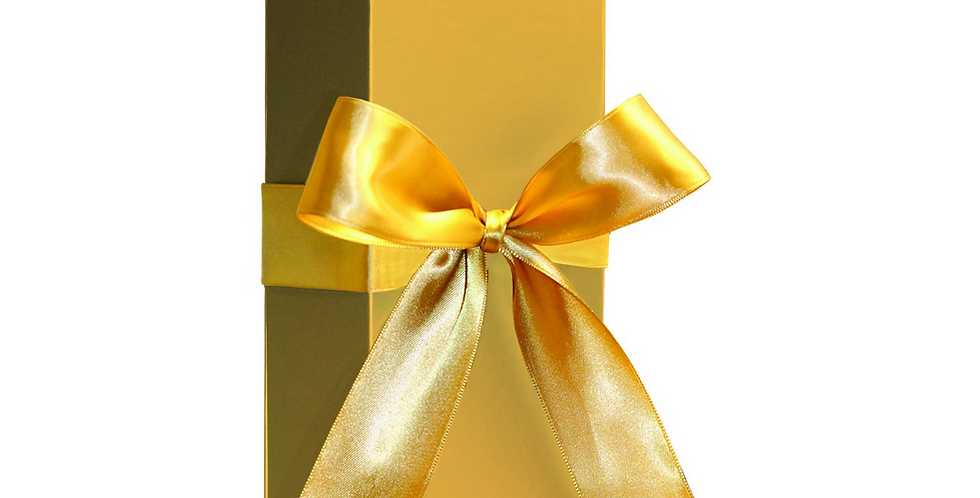 Premium gift bottle box in gold with a gorgeous gold bow