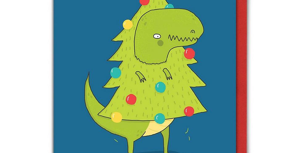 Blue Christmas card with cute dinosaur hidden in Christmas tree with  message Christmas Tree Rex