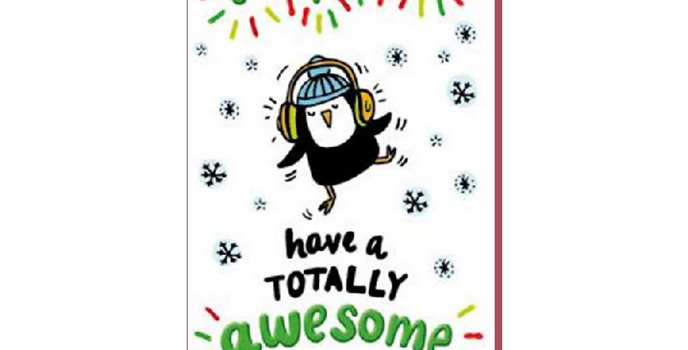 Christmas card with dancing penguin wearing headphones & saying to a fabulous nephew have a totally awesome Christmas