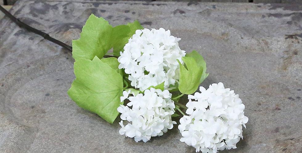 Artificial Fleur Snowball flower stem featuring three flower heads