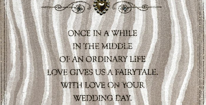 wedding card with wavy ivory and grey pattern and wedding message