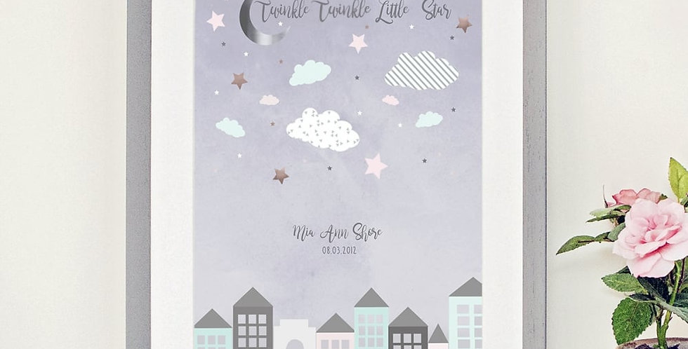 nursery print with pastel colours and twinkle twinkle little star