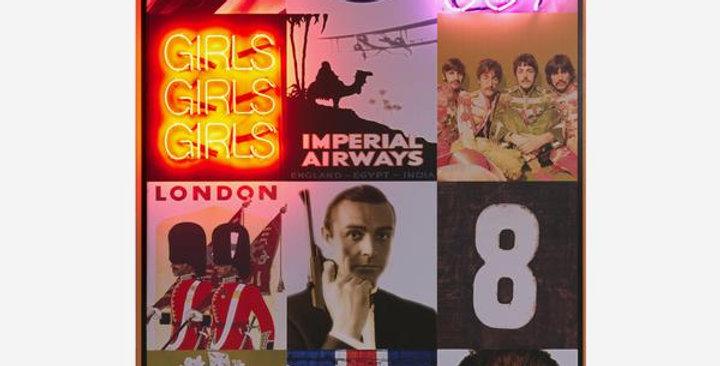 Modern neon art piece feature 12 squares depicting britain including union jack, the queen, james bond