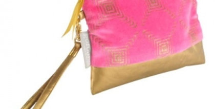 Dylan make up bag - a pink and gold pouch is finished with gold print and a gold handle attached to a golden zip.