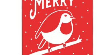 pack of 5 illustrated christmas cards in red and white featuring robin and words merry christmas