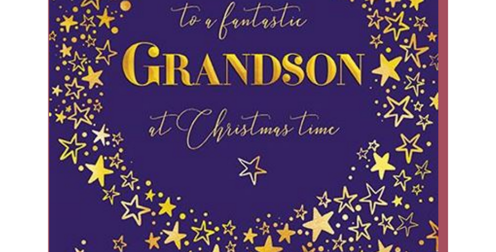 Dark blue background with gold stars and words to a fantastic grandson at christmas time