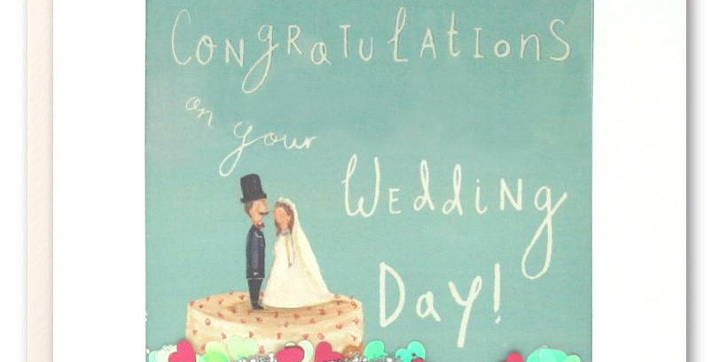wedding day shakie card, aqua background, wedding cake with couple on top and words congratulations on your wedding day