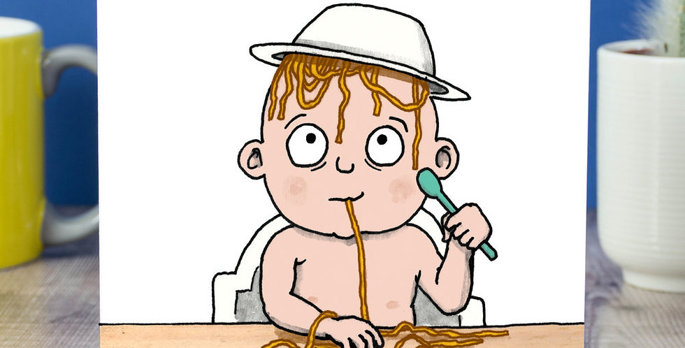 Baby shower card featuring cartoon baby sat at table with a bowl of spaghetti upturned on head