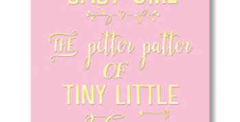 pale pink new baby card with gold writing saying baby girl the pitter patter of tiny little feet